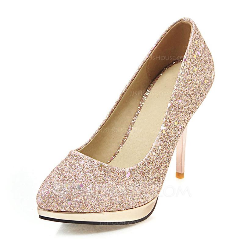 ef58146410d Femmes Similicuir Talon stiletto Escarpins Plateforme Bout fermé avec  Paillette chaussures. Loading zoom