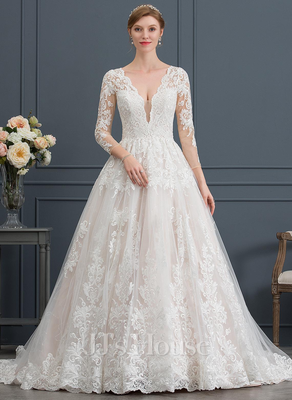 Платье для Балла/Принцесса V-образный Церковный шлейф Тюль Свадебные Платье