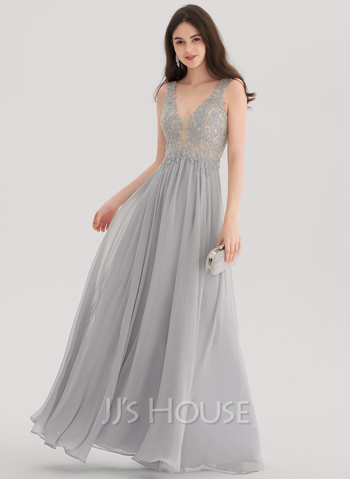 A-Line/Princess V-neck Floor-Length Chiffon Prom Dresses With ...