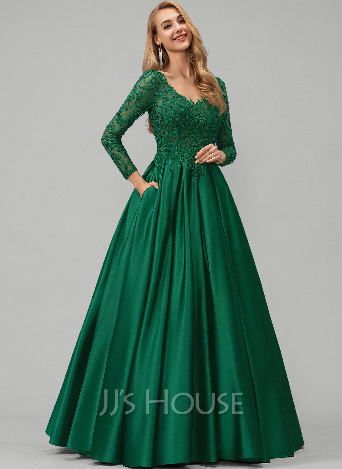 V-neck Floor-Length Satin Prom Dresses With Lace Beading Sequins Pockets