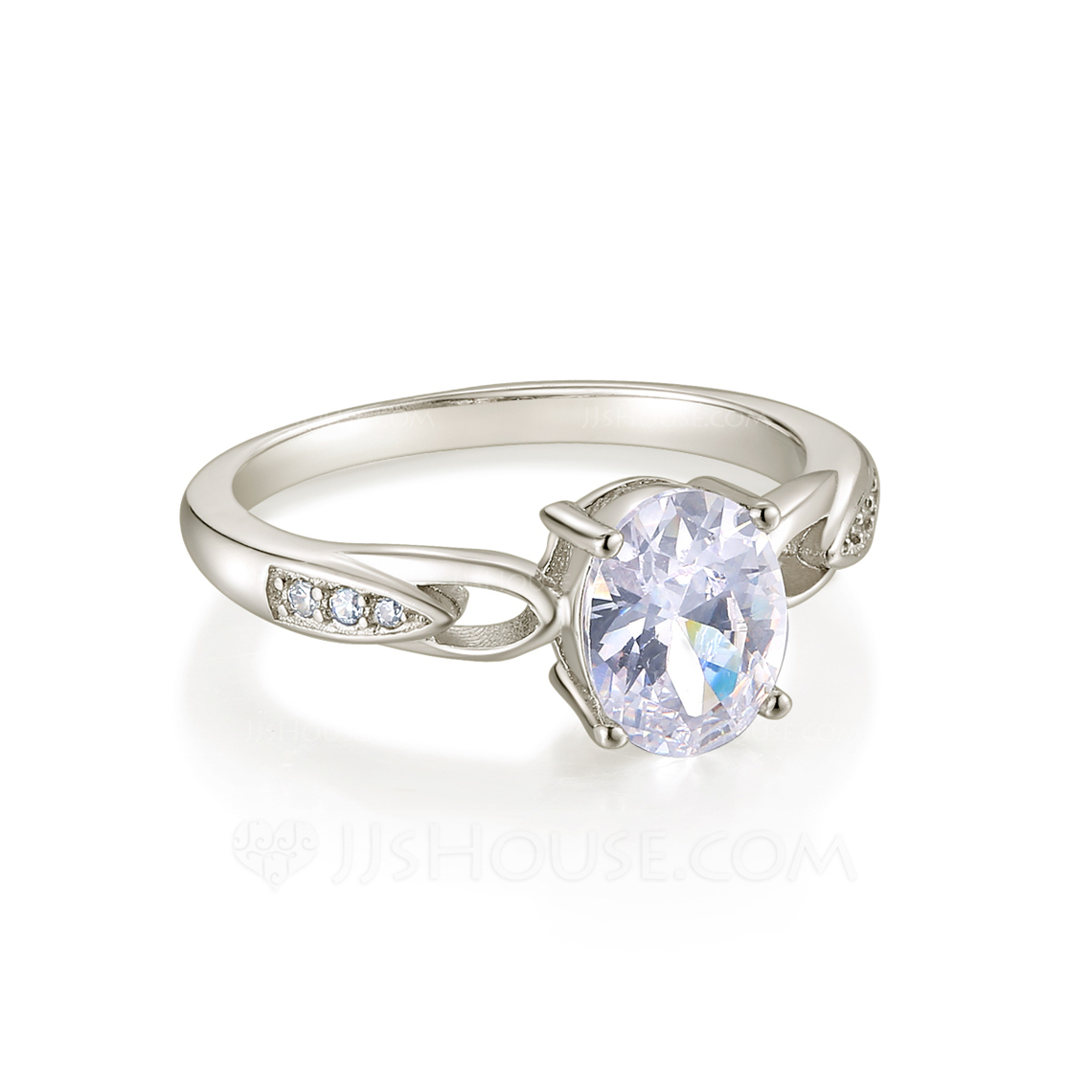 Sterling Silver Cubic Zirconia Dainty Intertwined Oval Cut Engagement Rings Promise Rings -