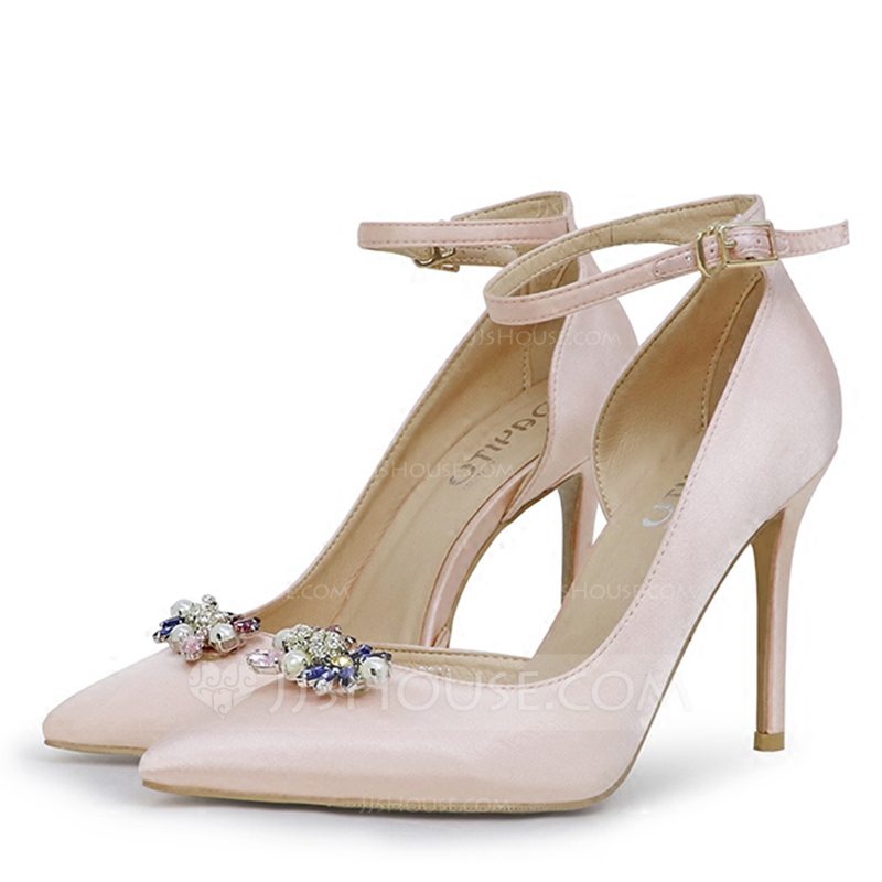 6dd287ec9ce5 Women s Silk Like Satin Stiletto Heel Closed Toe Pumps With Crystal. Loading  zoom