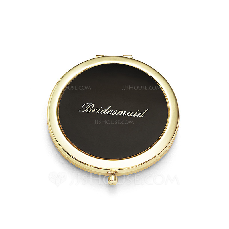 Bridesmaid Gifts - Personalized Vintage Stainless Steel Compact Mirror