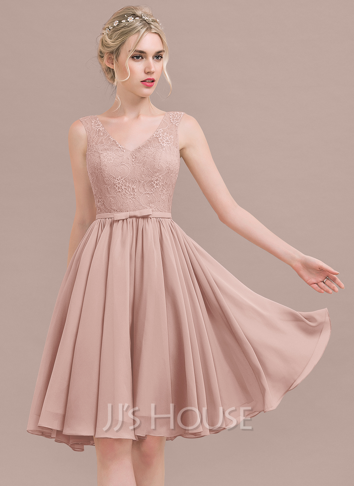 e37259fa1748 A-Line/Princess V-neck Knee-Length Chiffon Lace Bridesmaid Dress With.  Loading zoom