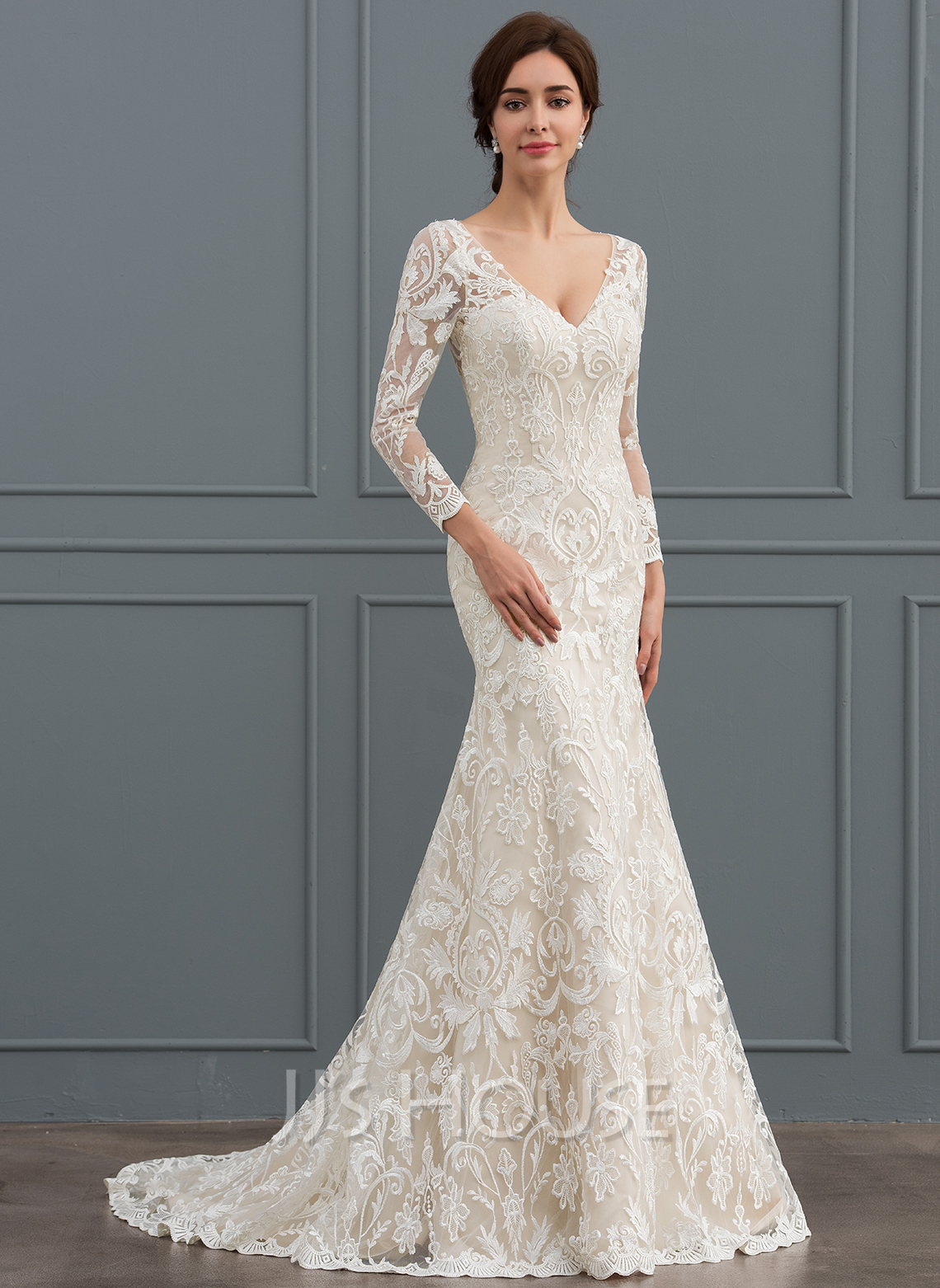 Lace Wedding Dress With Sleeves.Trumpet Mermaid V Neck Sweep Train Lace Wedding Dress 002127261
