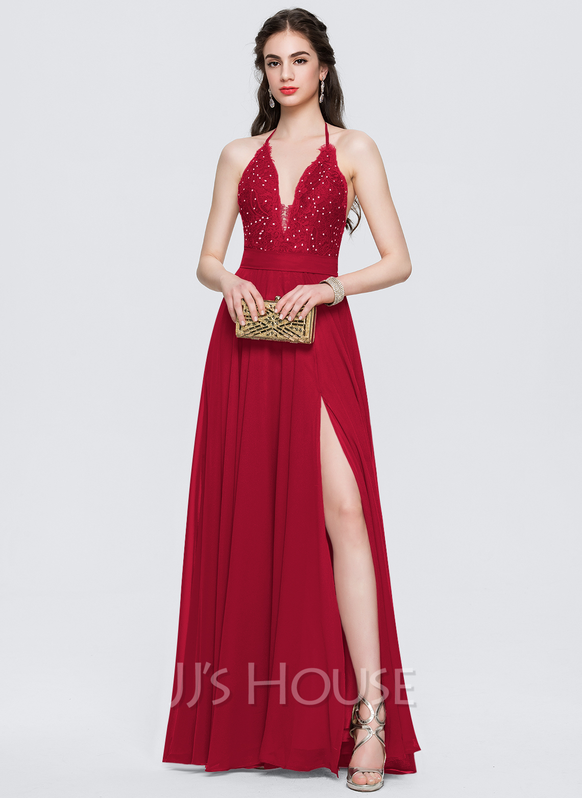 5159fffb735 A-Line Princess Halter Floor-Length Chiffon Prom Dresses With Split Front.  Loading zoom