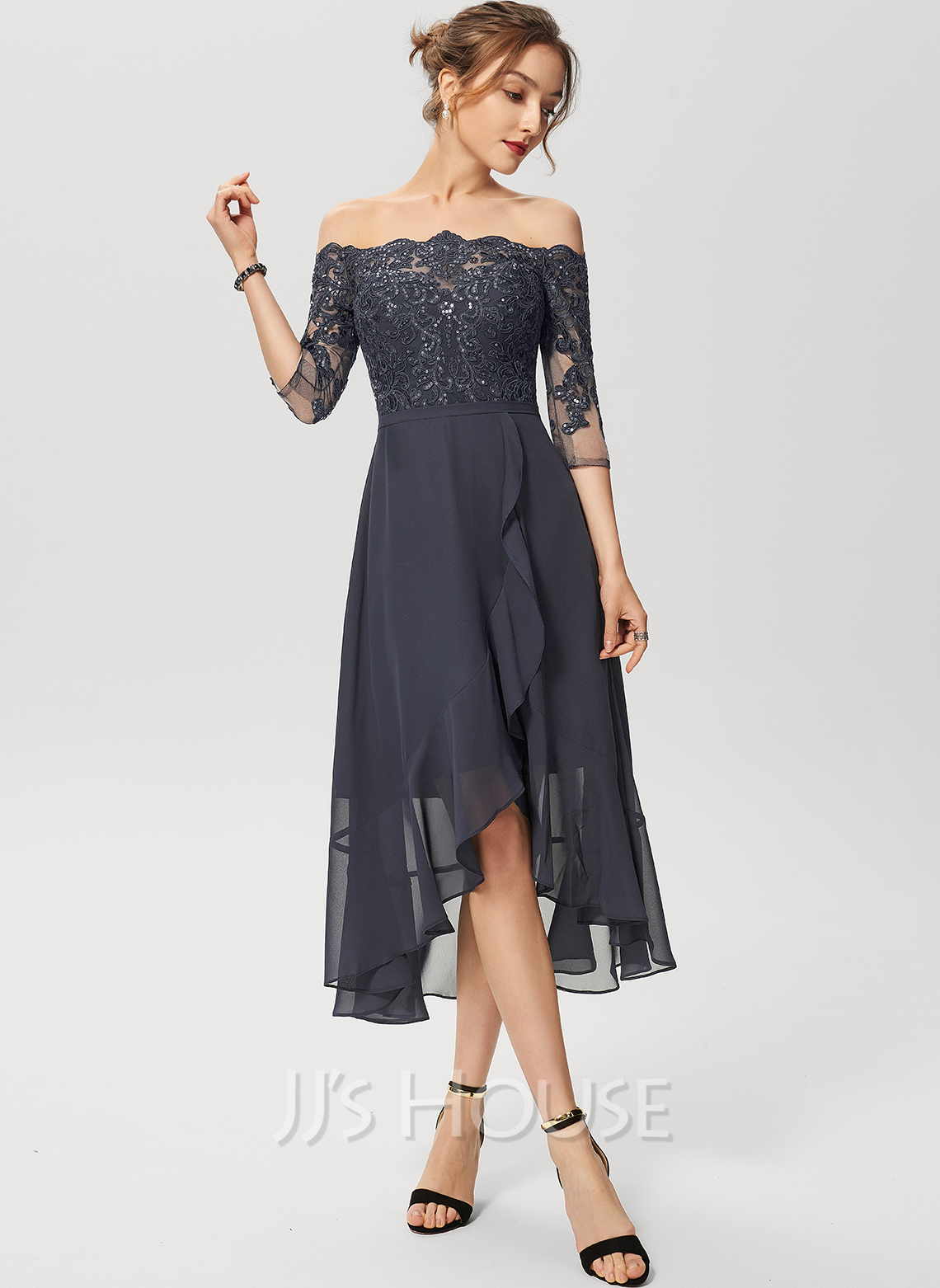 Off-the-Shoulder Asymmetrical Chiffon Lace Cocktail Dress With Sequins