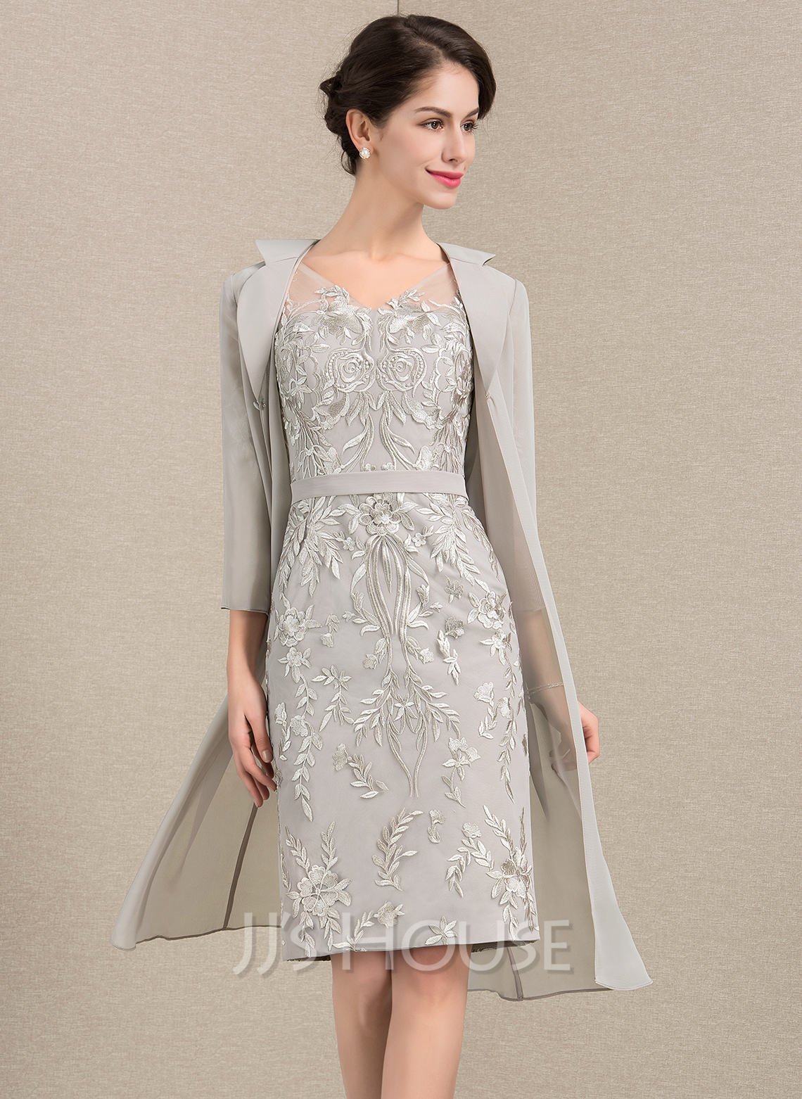 7fcf93f2758a92 Sheath/Column V-neck Knee-Length Lace Mother of the Bride Dress. Loading  zoom