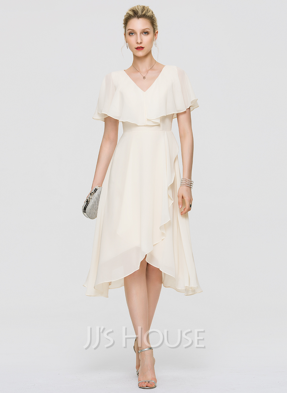 57ba1d5bc7 A-Line V-neck Asymmetrical Chiffon Cocktail Dress With Bow(s) Cascading.  Loading zoom