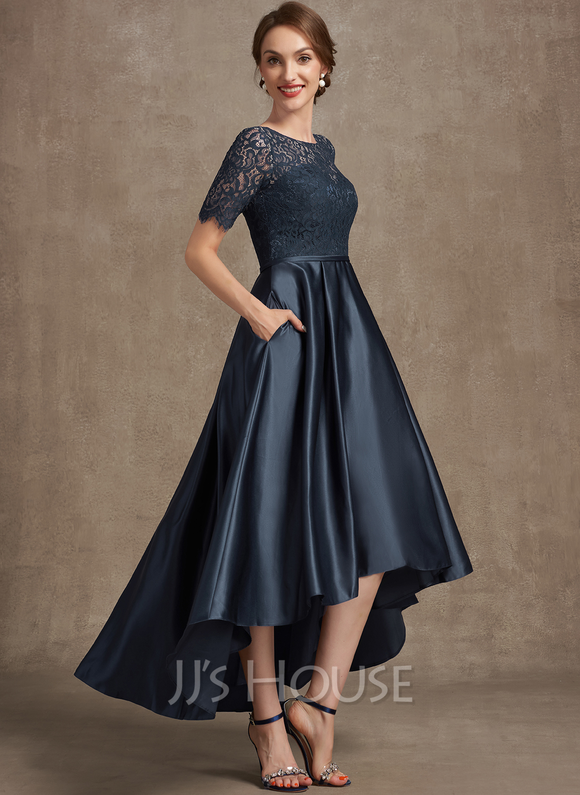 A-Line Scoop Neck Asymmetrical Satin Lace Mother of the Bride Dress