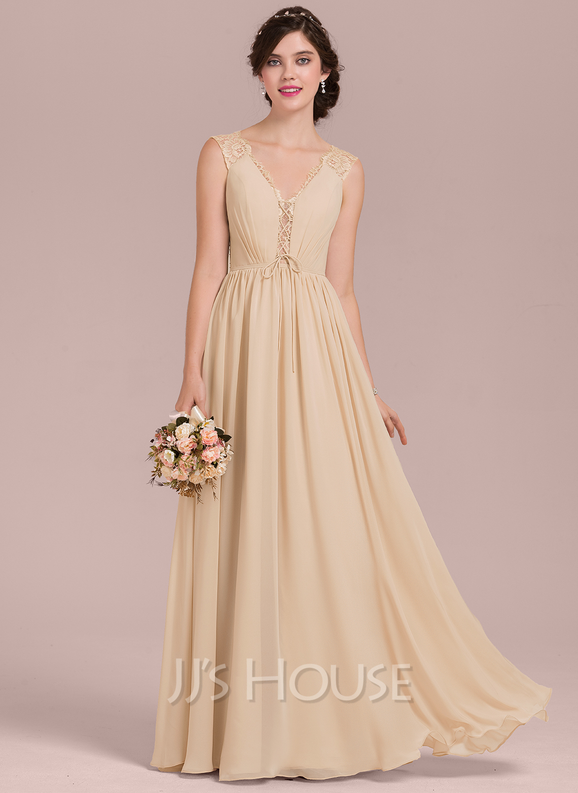 V-neck Floor-Length Chiffon Lace Bridesmaid Dress With Ruffle Bow(s)
