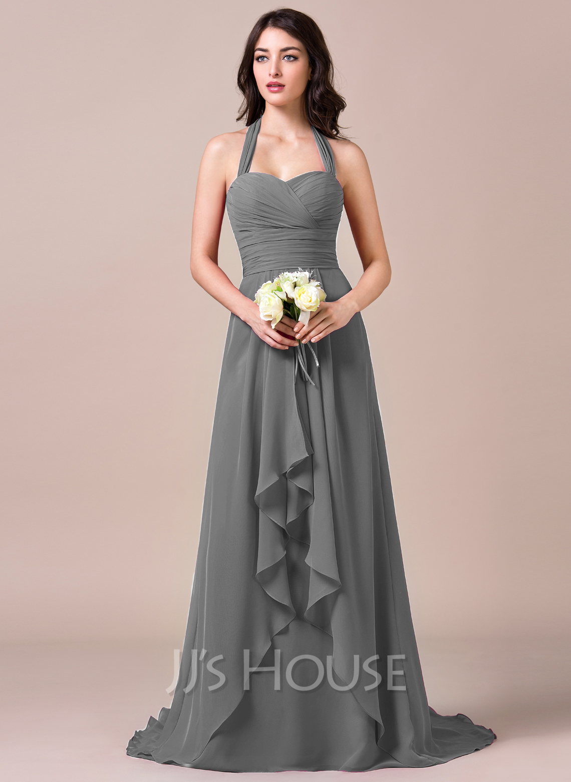 A lineprincess halter sweep train chiffon bridesmaid dress with a lineprincess halter sweep train chiffon bridesmaid dress with bows loading zoom ombrellifo Images