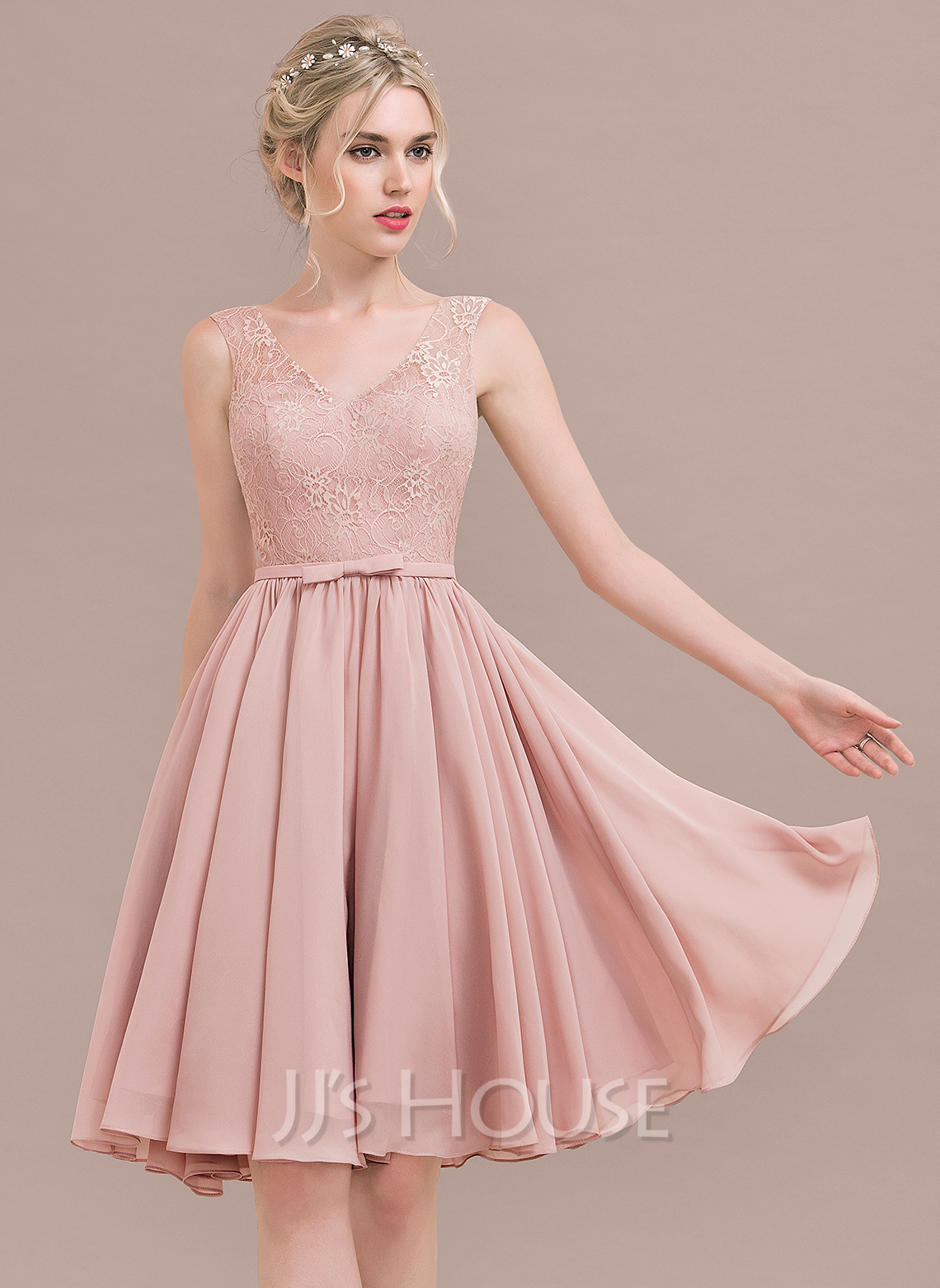 A-Line/Princess V-neck Knee-Length Chiffon Lace Cocktail Dress With ...
