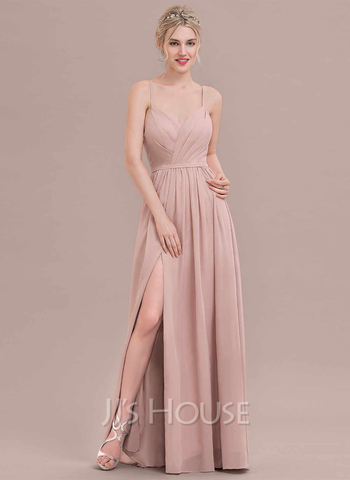 5ed701661a33c A-Line/Princess Sweetheart Floor-Length Chiffon Bridesmaid Dress With  Ruffle Split Front. Loading zoom