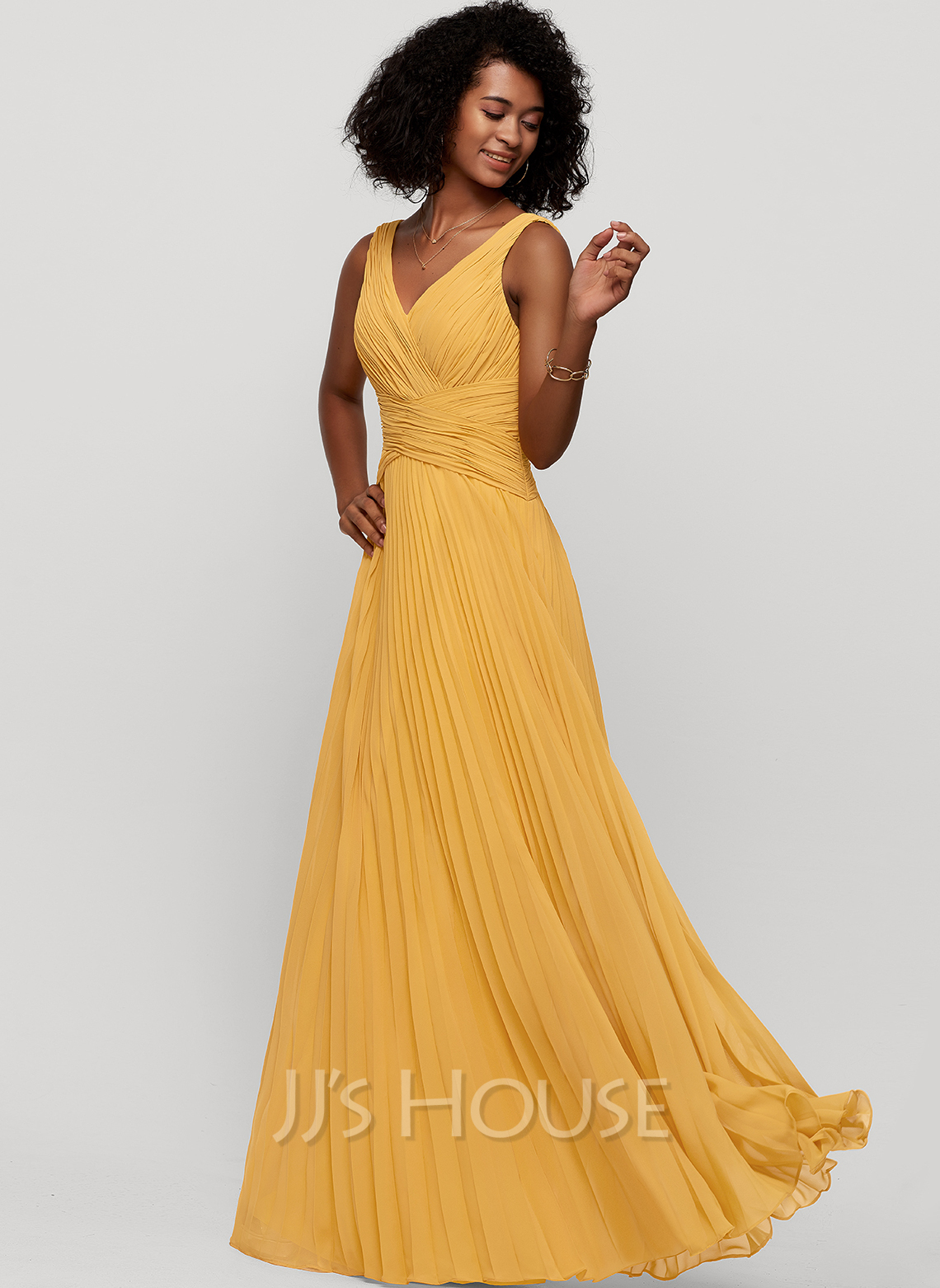 V-neck Floor-Length Chiffon Evening Dress With Pleated