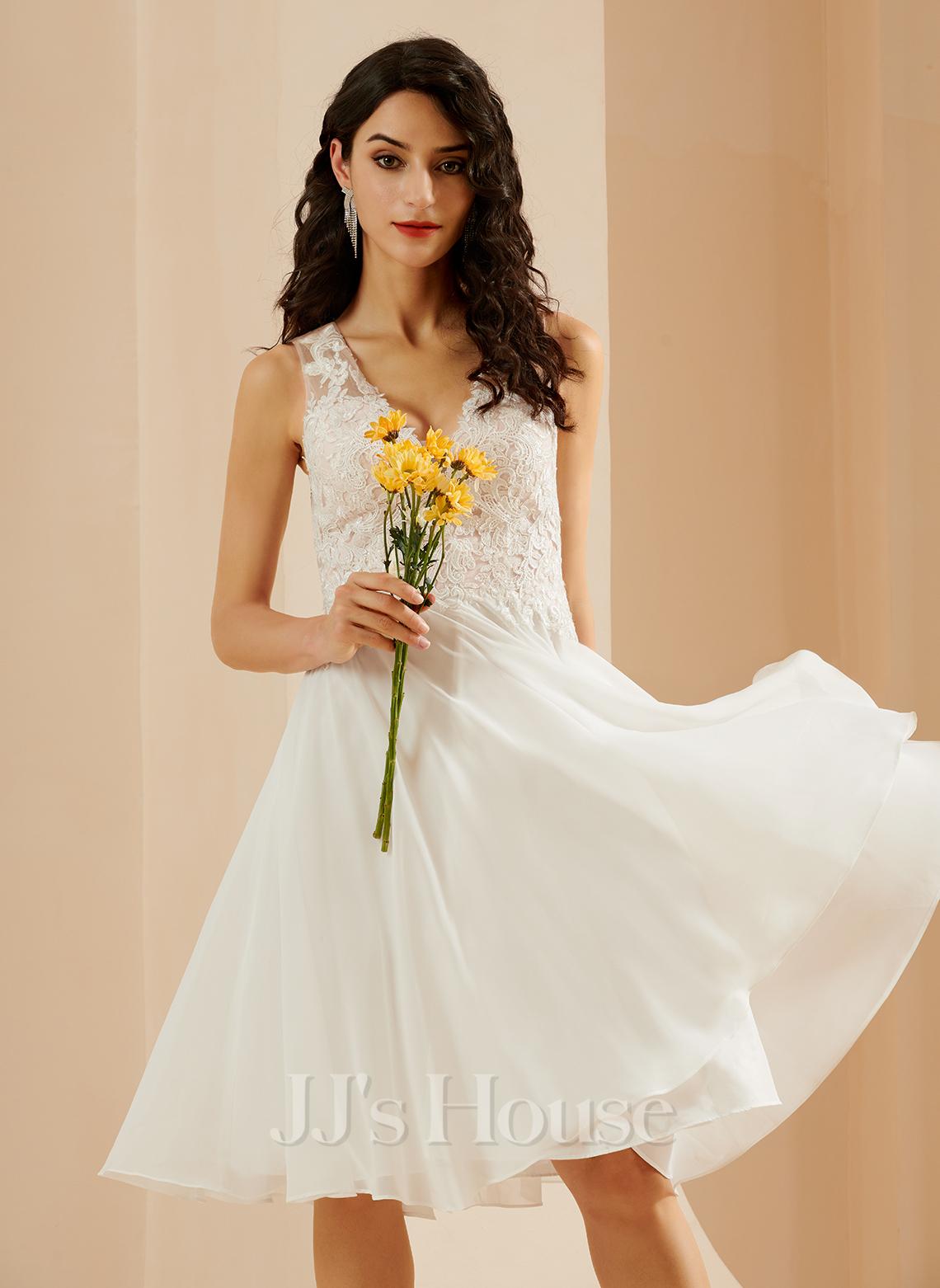 A-Line V-neck Knee-Length Wedding Dress With Lace Sequins
