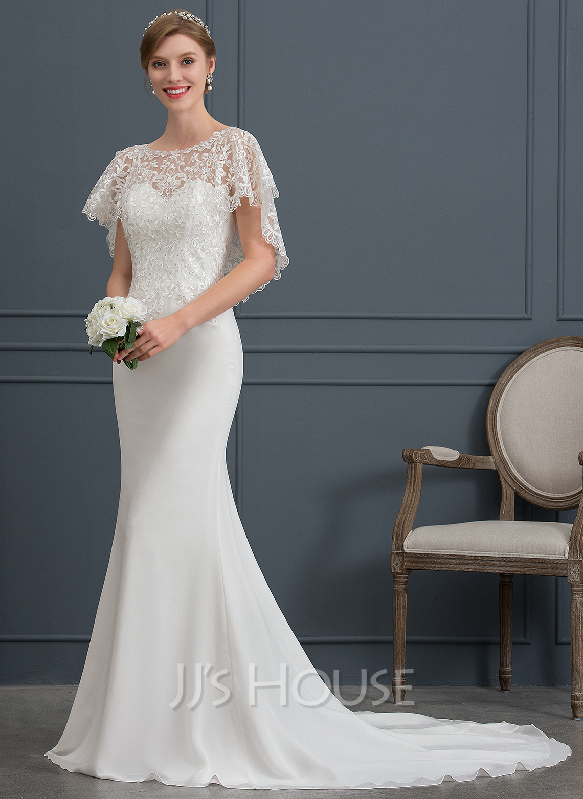 21096ddd3087 Trumpet/Mermaid Scoop Neck Court Train Chiffon Wedding Dress. Loading zoom
