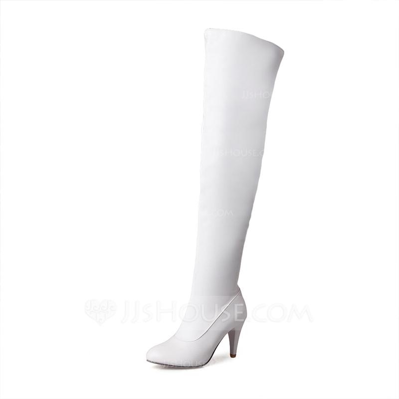 Femmes Similicuir Talon stiletto Escarpins Bout fermé Bottes Cuissardes avec  Zip chaussures. Loading zoom c939138f6623