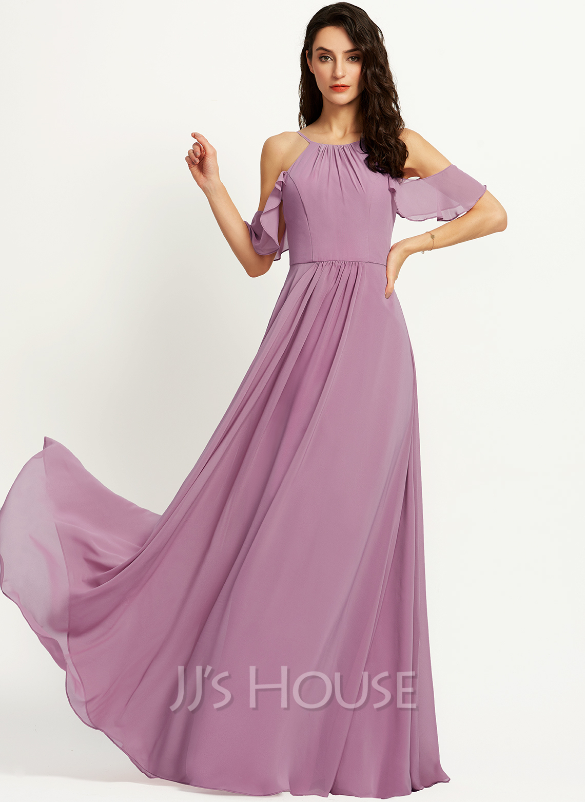 A-Line Scoop Neck Floor-Length Bridesmaid Dress With Pockets
