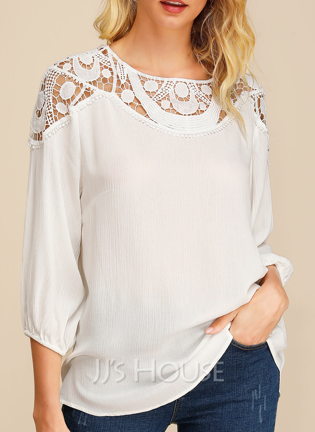 3/4 Sleeves Cotton Round Neck Bluzlar