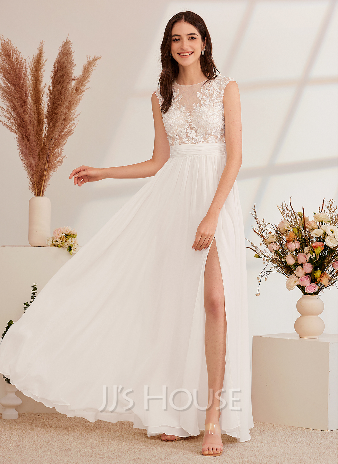 A-Line Illusion Floor-Length Wedding Dress With Beading Split Front