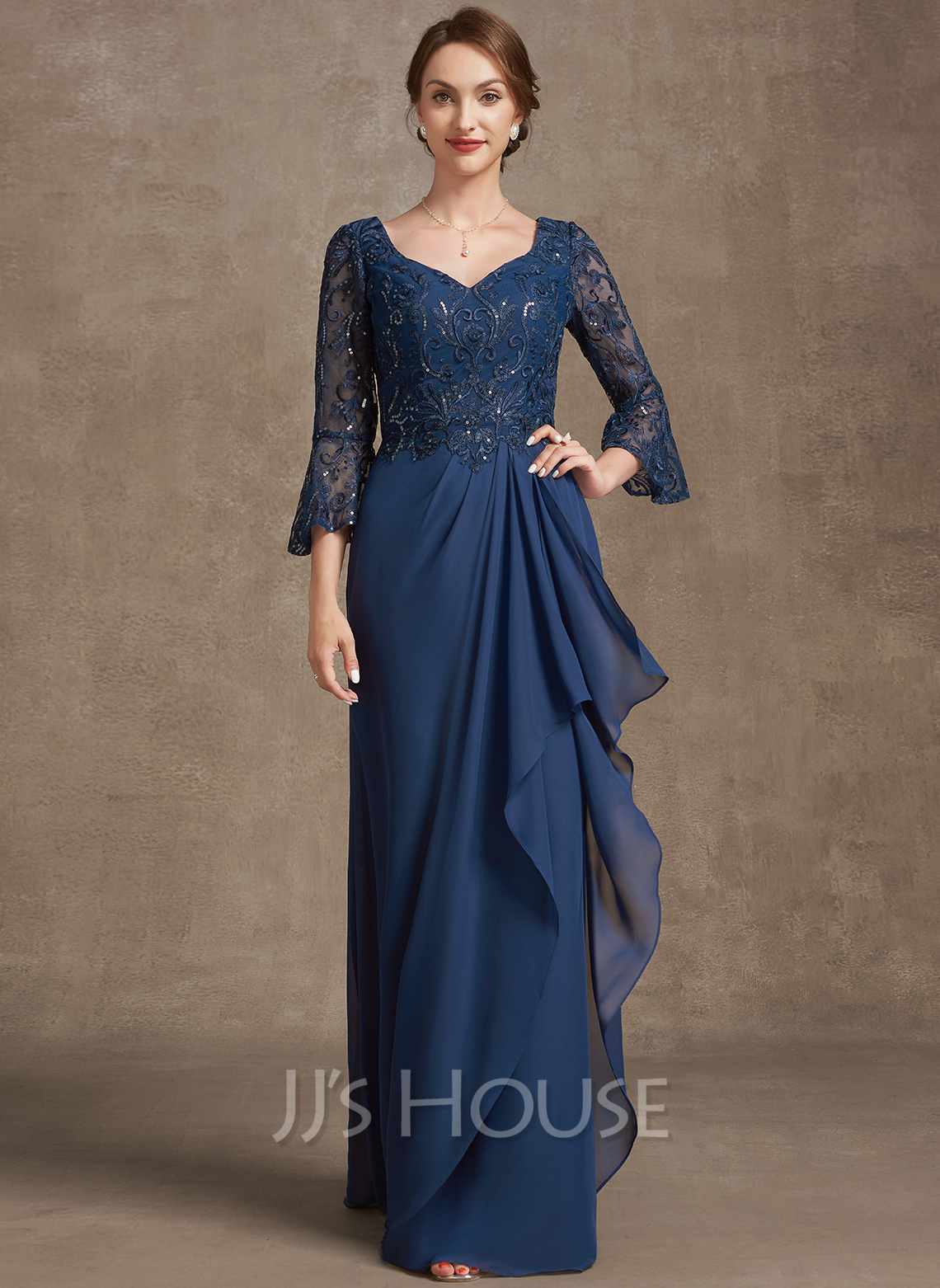 A-Line V-neck Floor-Length Chiffon Lace Mother of the Bride Dress With Sequins Cascading Ruffles