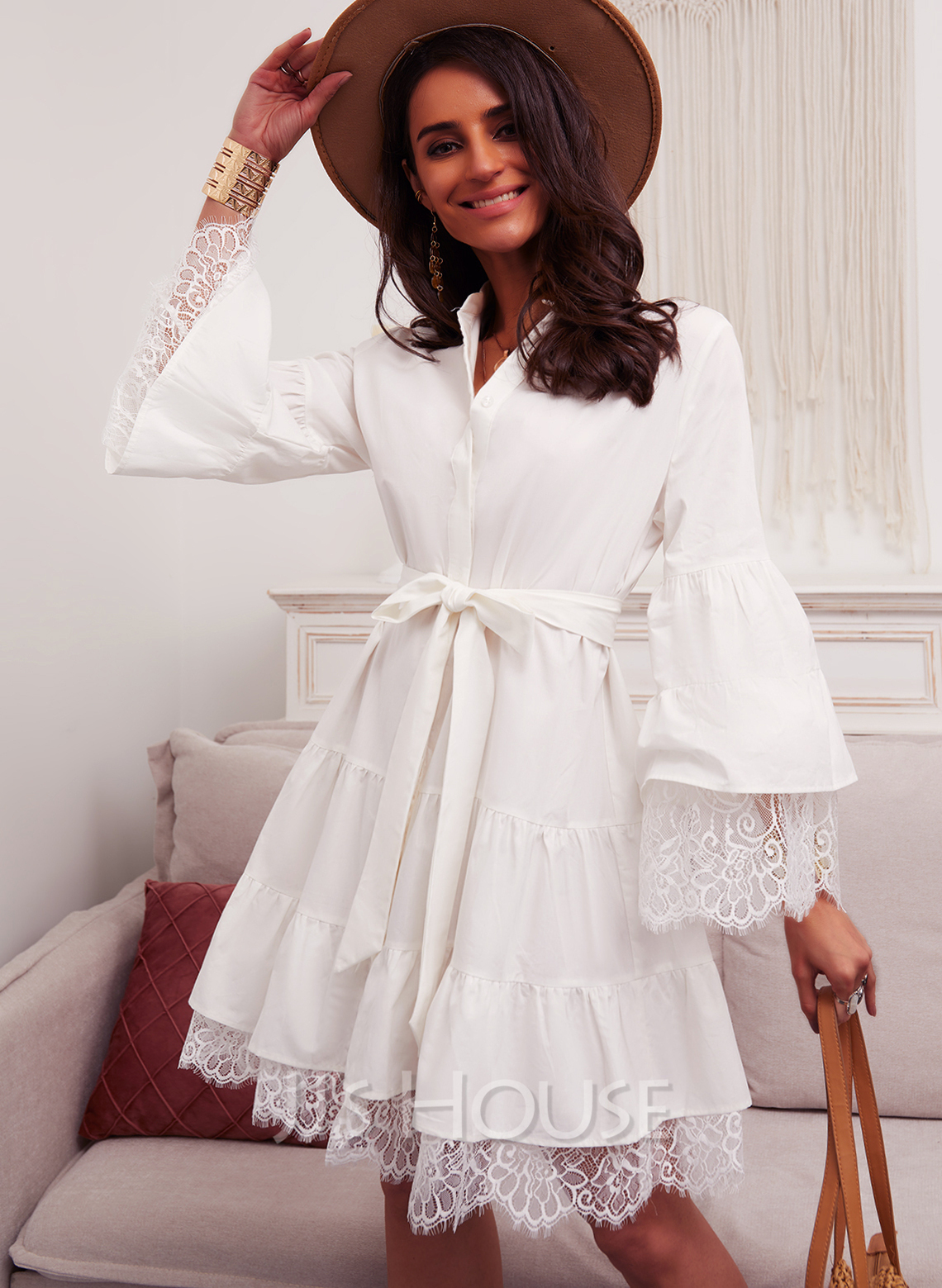 Lace Solid A-line V-Neck Long Sleeves Flare Sleeve Midi Elegant Skater Dresses