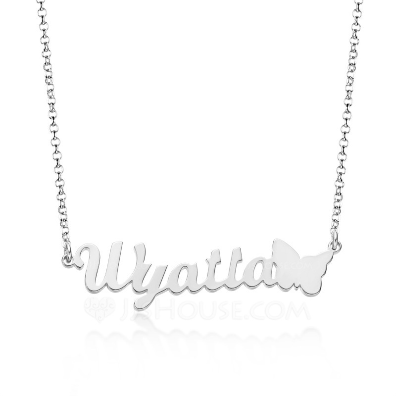 Custom Silver Letter Name Necklace With Butterfly - Birthday Gifts