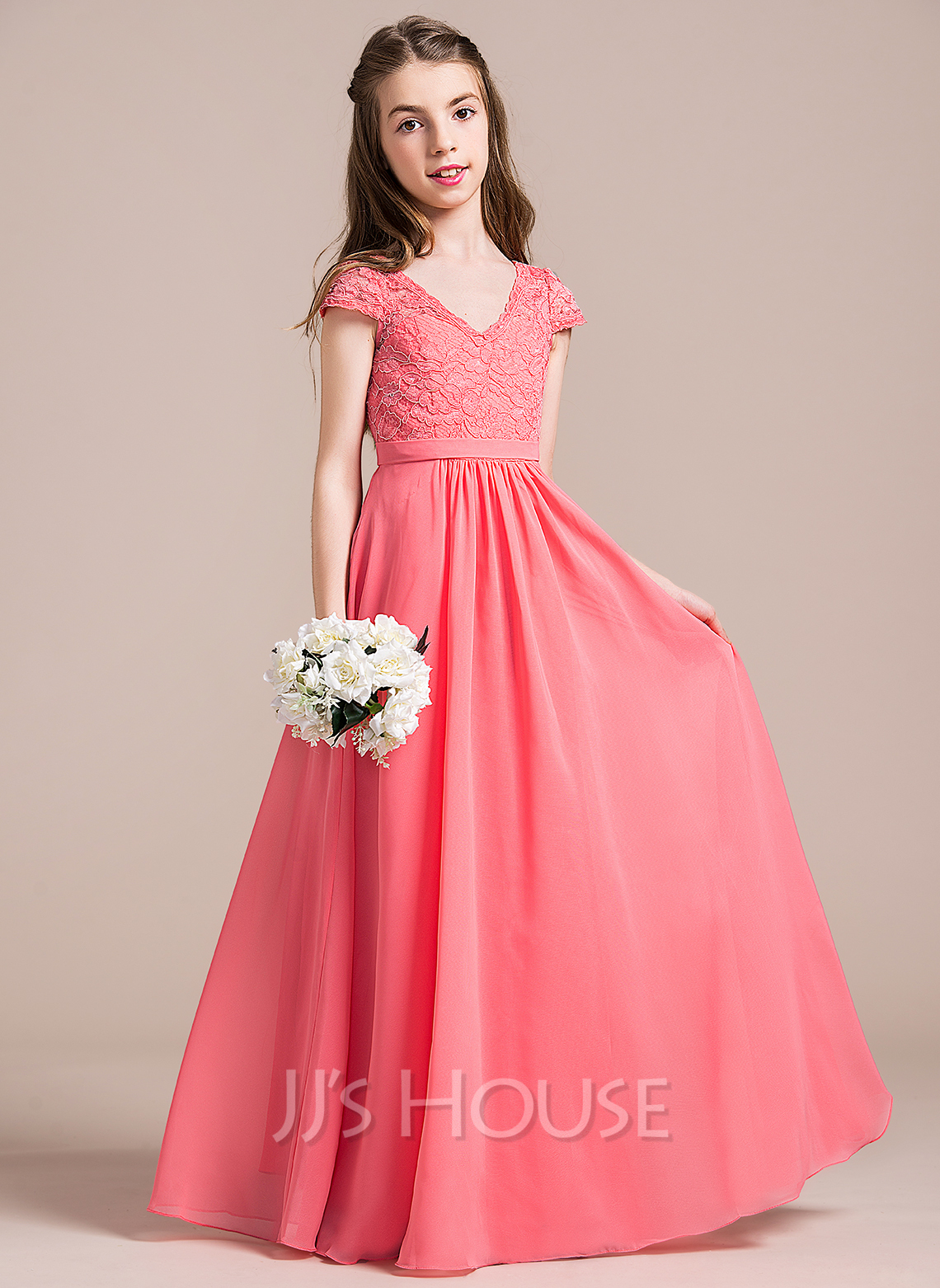A-Line/Princess Floor-length Flower Girl Dress - Chiffon/Lace Sleeveless V-neck