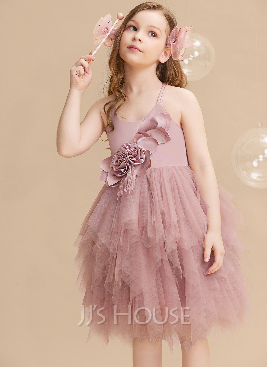 Ball-Gown/Princess Knee-length Flower Girl Dress - Sleeveless Scalloped Neck With Feather/Flower(s)