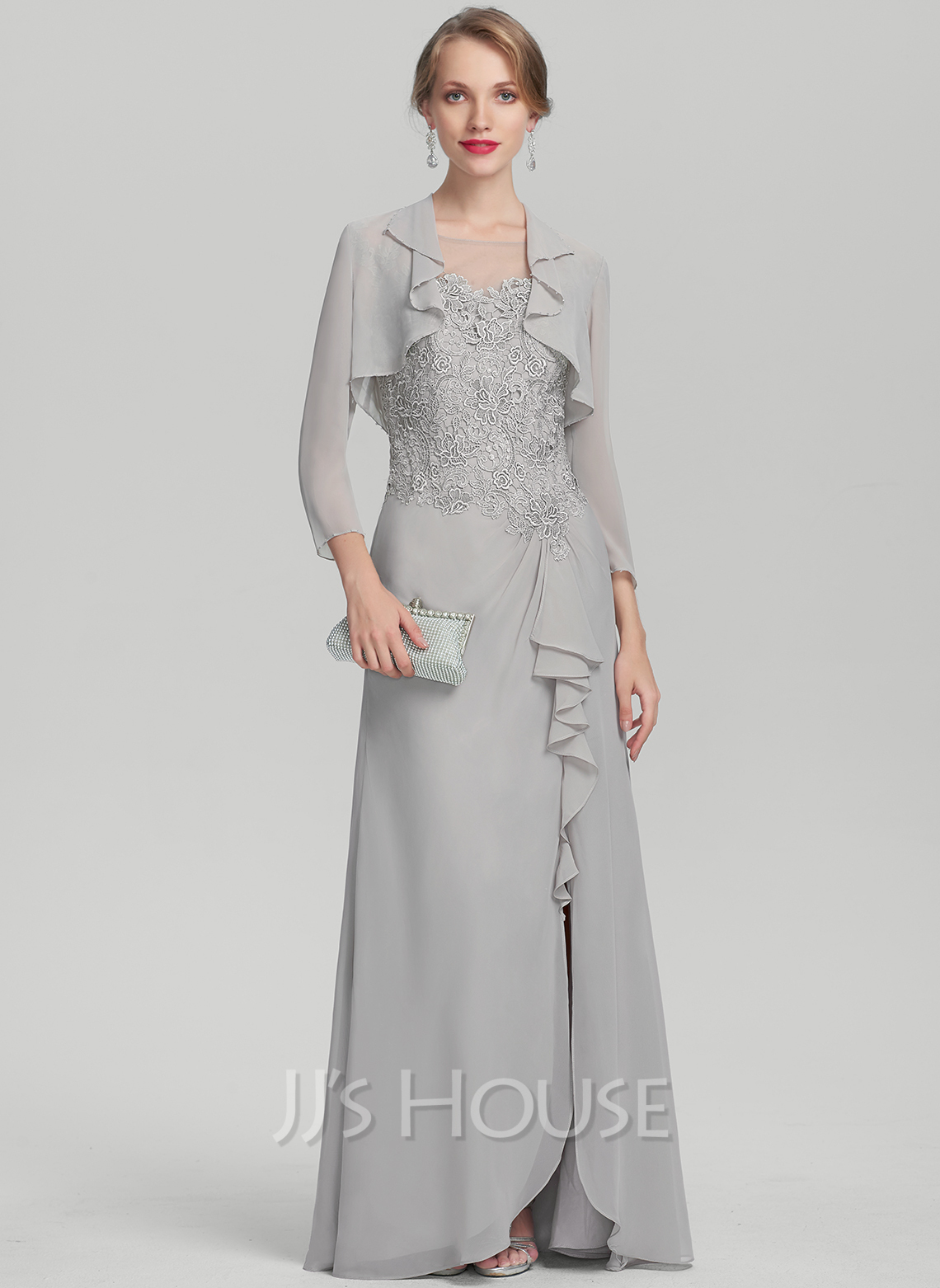 Scoop Neck Floor-Length Chiffon Lace Mother of the Bride Dress With Split Front Cascading Ruffles
