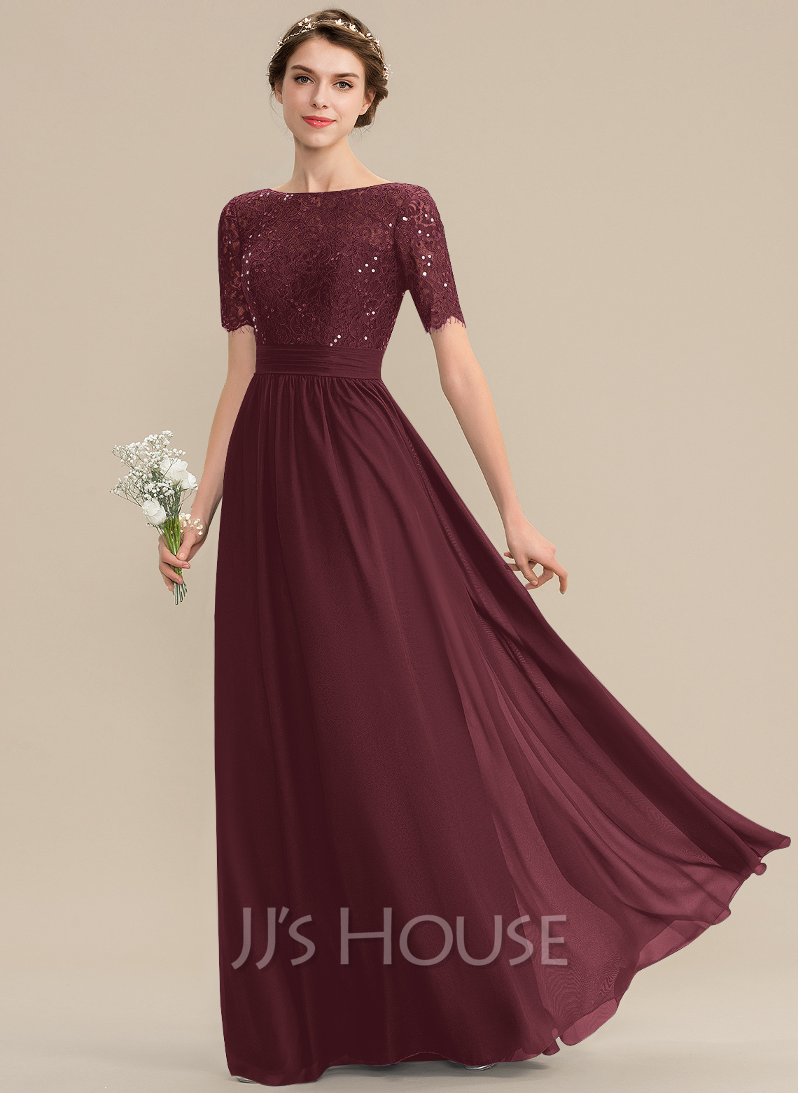 Scoop Neck Floor-Length Chiffon Lace Bridesmaid Dress With Sequins