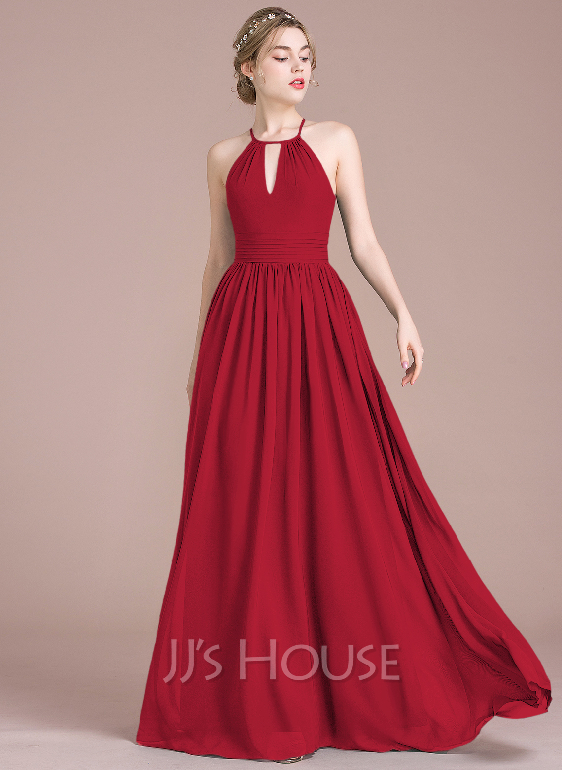 41466a22fbedf A-Line/Princess Scoop Neck Floor-Length Chiffon Bridesmaid Dress With  Ruffle. Loading zoom