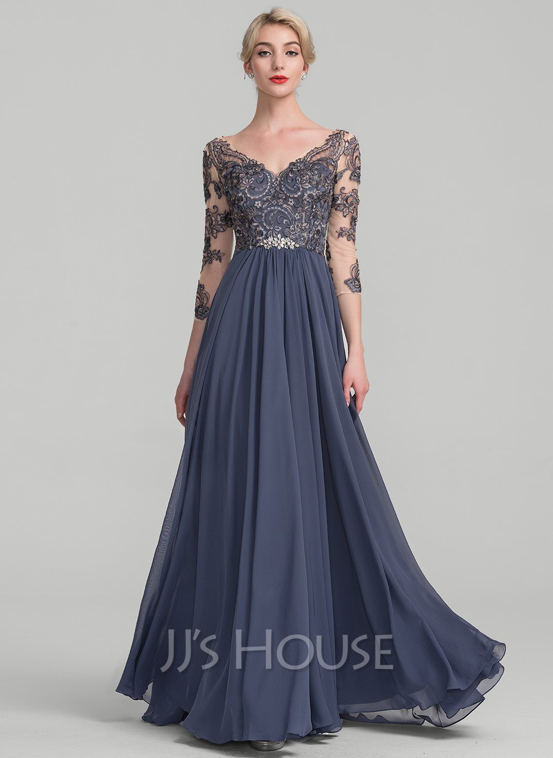 A-Line/Princess V-neck Floor-Length Chiffon Lace Evening Dress ...