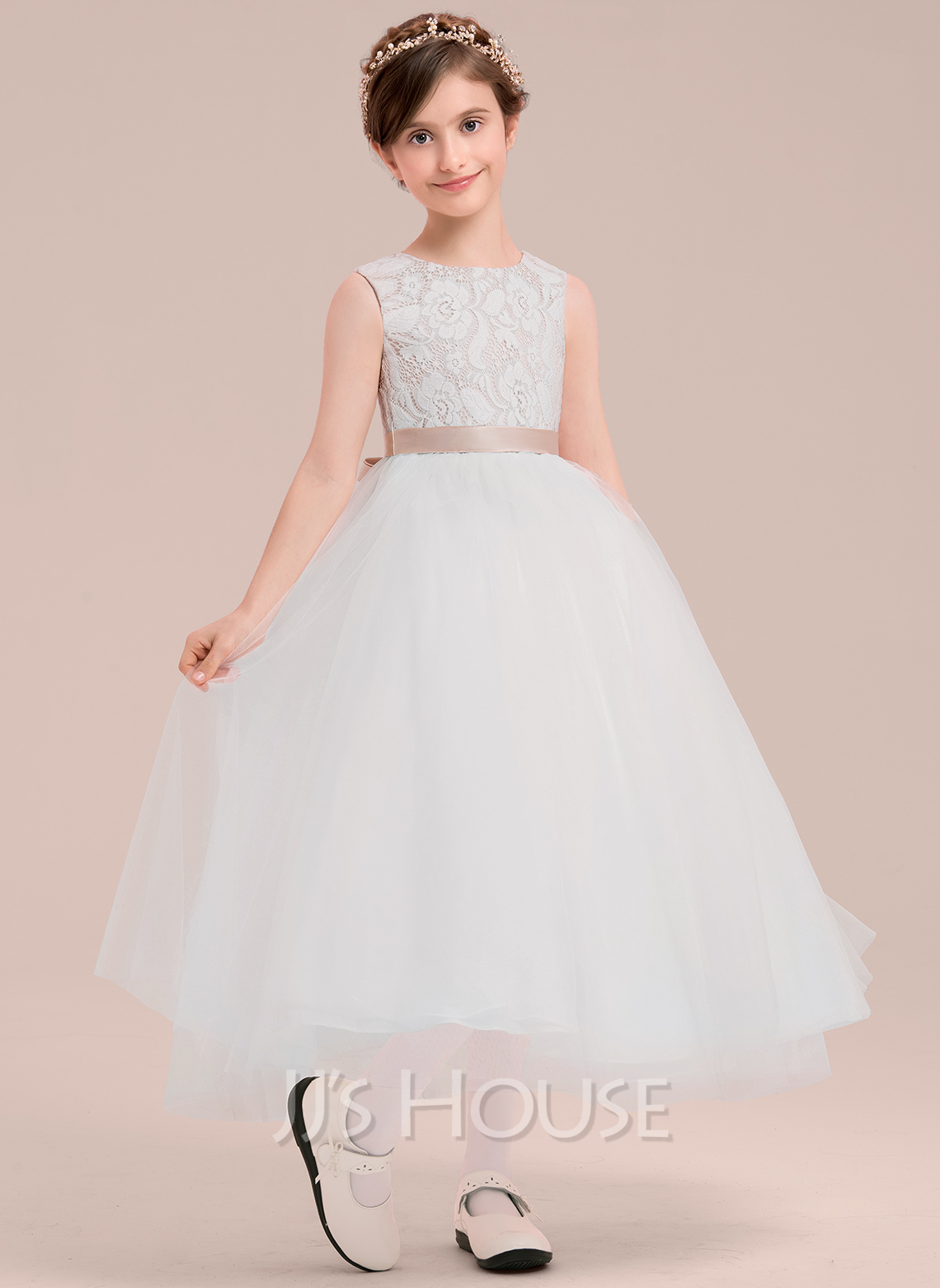 Ankle-length Flower Girl Dress - Satin Tulle Lace Sleeveless Scoop Neck