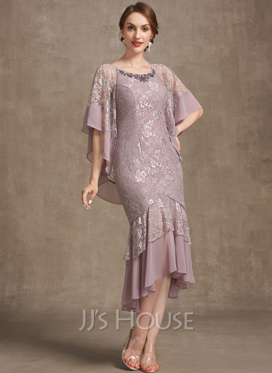 Trumpet/Mermaid Scoop Neck Asymmetrical Chiffon Lace Mother of the Bride Dress