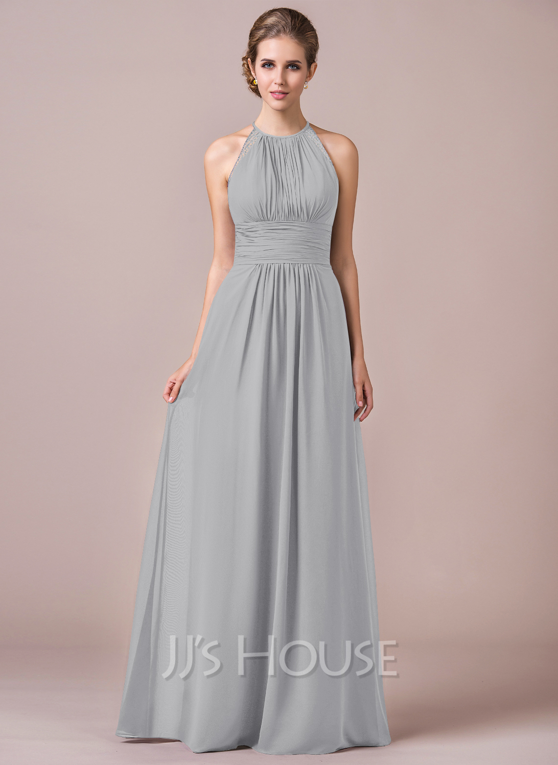 0017772130c Chiffon Halter-neck Floor-length Bridesmaid Dress With Lace. Loading zoom