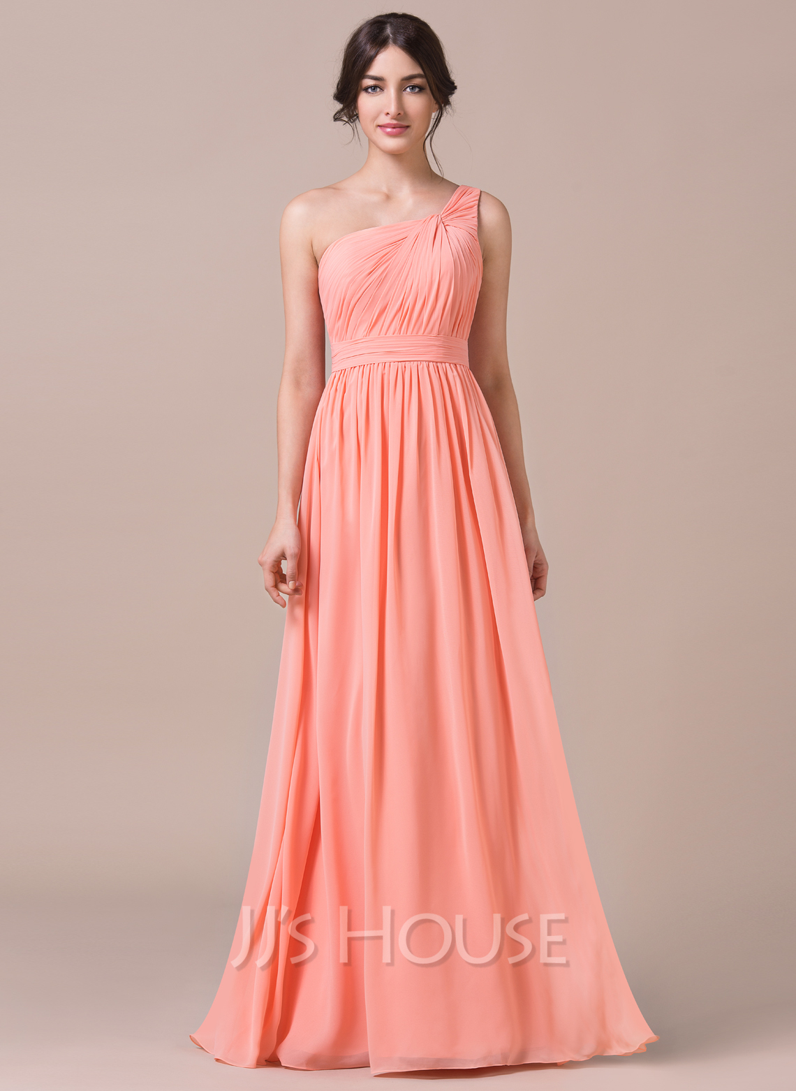 A Line Princess One Shoulder Floor Length Chiffon Bridesmaid Dress With Ruffle Loading Zoom