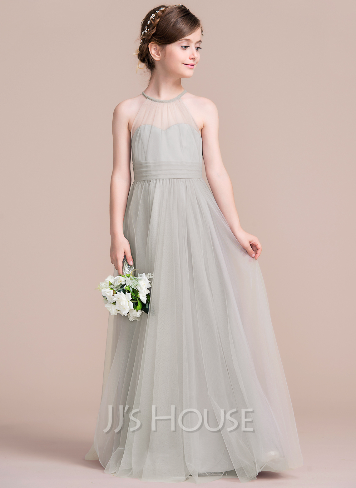 A lineprincess scoop neck floor length tulle junior bridesmaid a lineprincess scoop neck floor length tulle junior bridesmaid dress with ruffle loading zoom ombrellifo Images