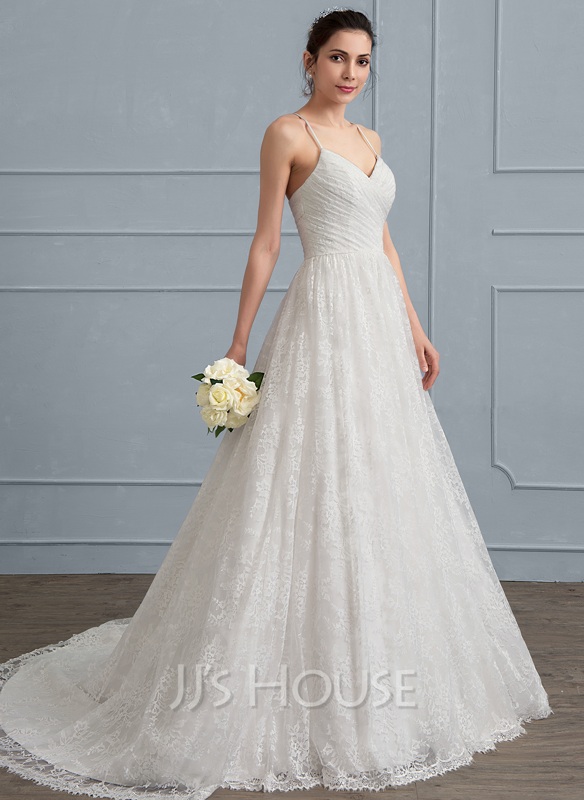 A-Line/Princess Sweetheart Sweep Train Lace Wedding Dress With ...