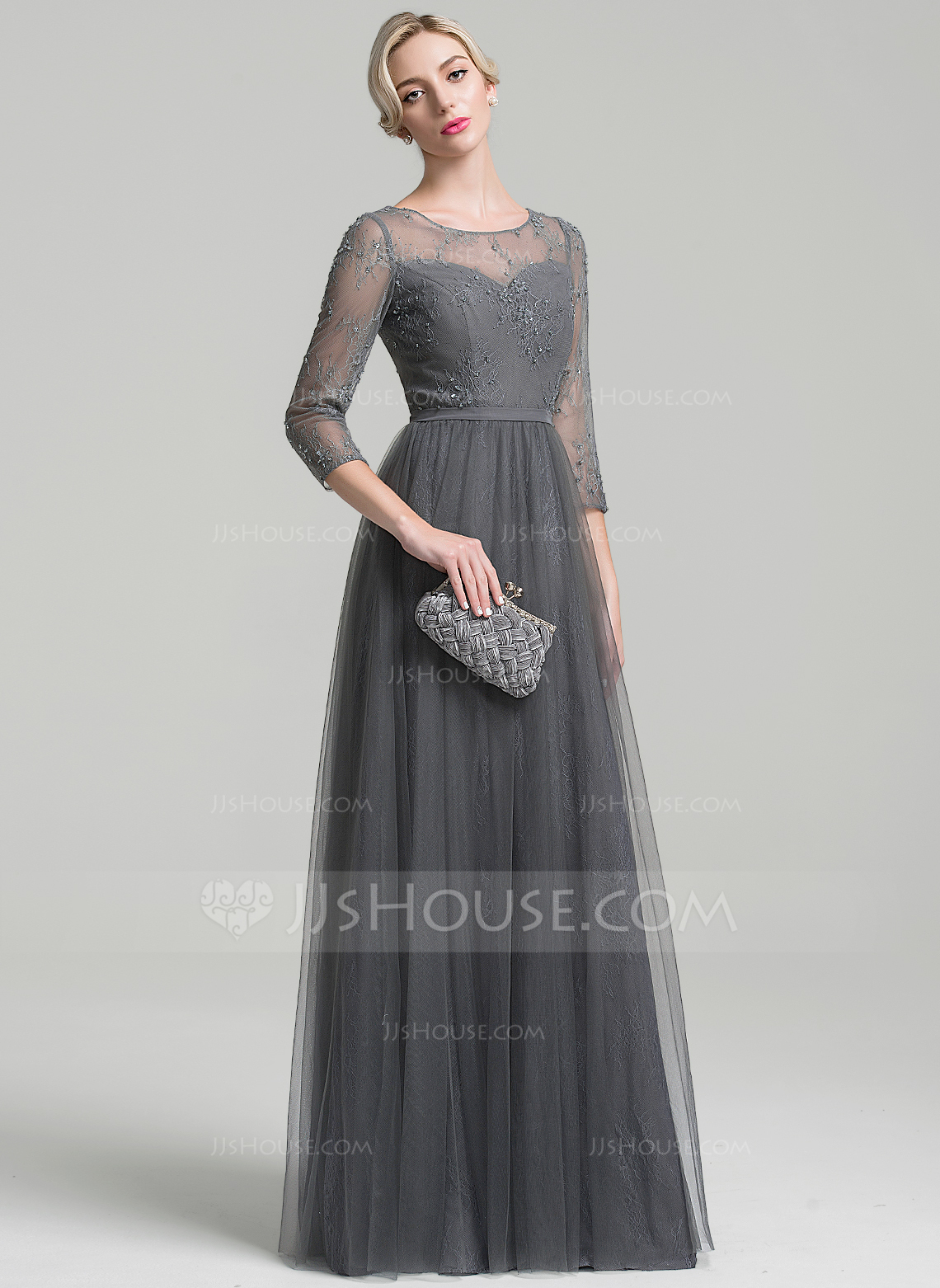 e4400b321d728 A-Line Princess Scoop Neck Floor-Length Tulle Mother of the Bride Dress. Loading  zoom