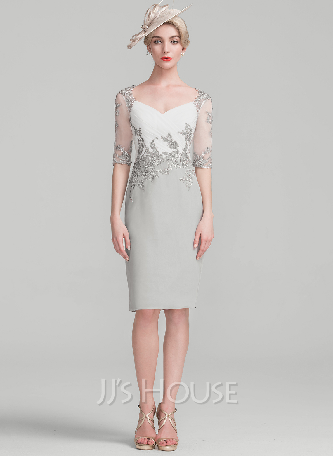 Sheath/Column Knee-Length Chiffon Lace Cocktail Dress