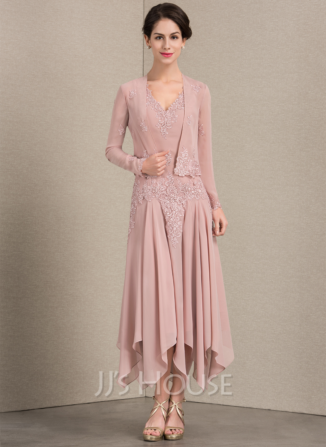V-neck Ankle-Length Chiffon Mother of the Bride Dress With Appliques Lace Sequins