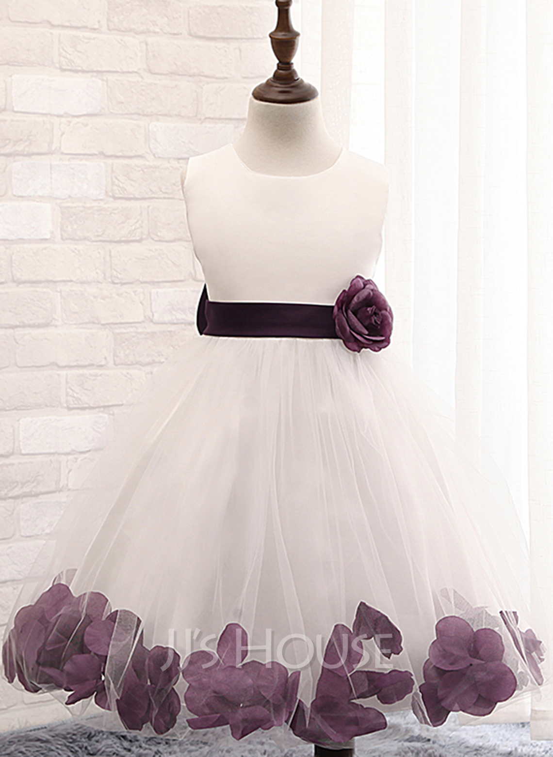 Knee-length Flower Girl Dress - Cotton Blends Sleeveless Scoop Neck With Flower(s) Bow(s)