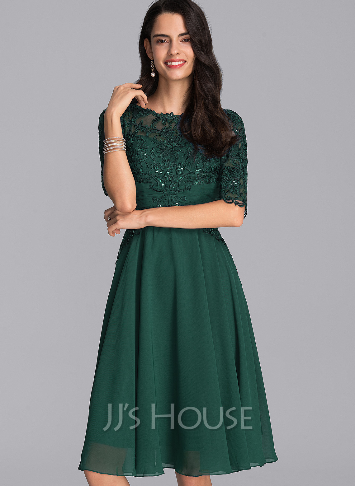 Scoop Neck Knee-Length Chiffon Cocktail Dress With Sequins
