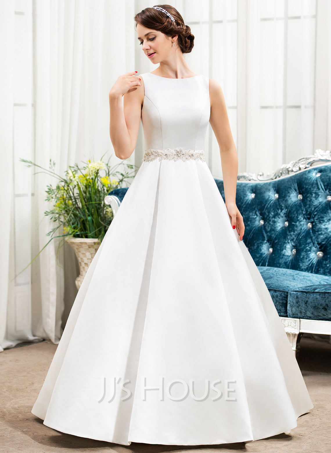 Ball gown scoop neck floor length satin wedding dress with for Dress up wedding dresses
