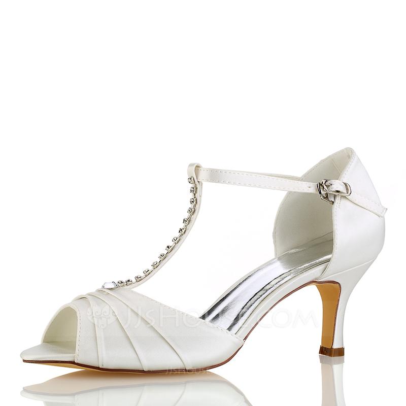 Kvinder silke lignende satin Stiletto Hæl Kigge Tå sandaler med Flæsekanter Crystal