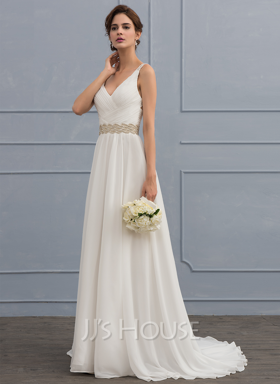 A line princess v neck sweep train chiffon wedding dress for Beading for wedding dress