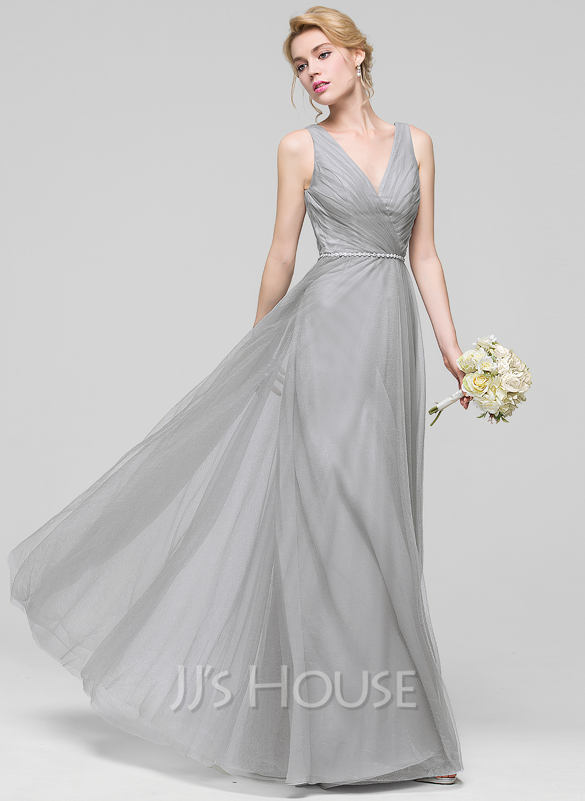V-neck Floor-Length Tulle Bridesmaid Dress With Ruffle Beading