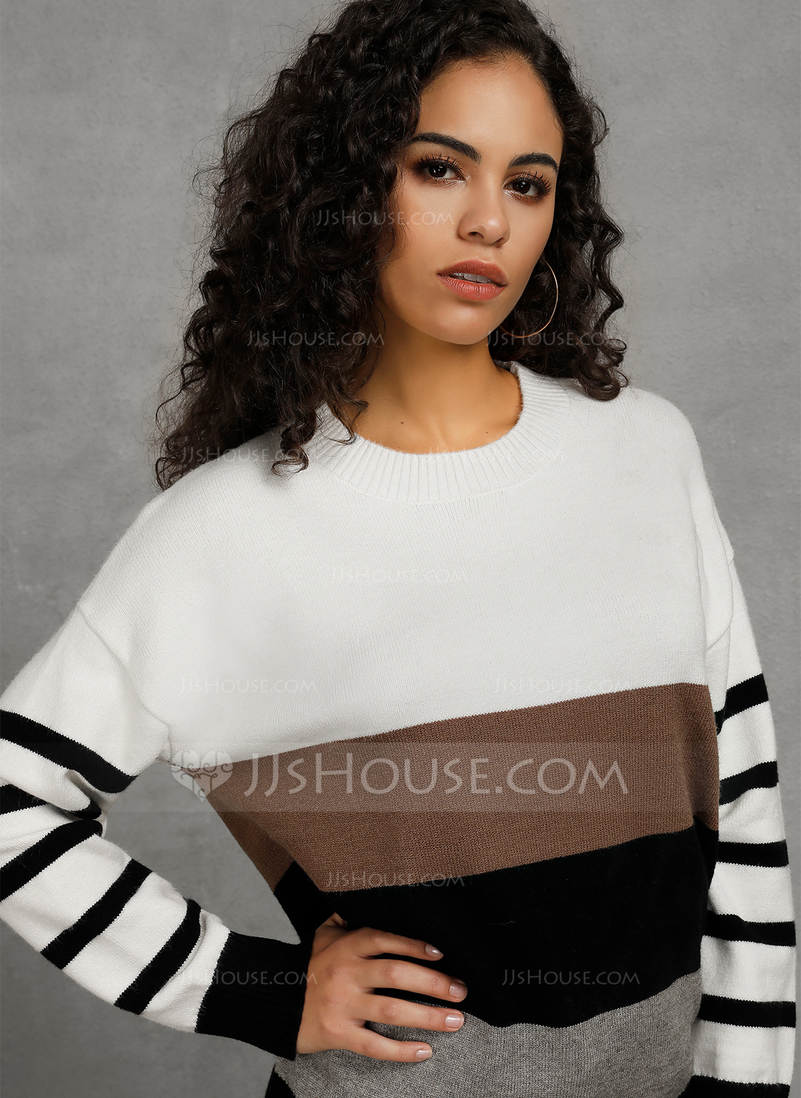 Color Block Polyester Crew Neck Pullovers Sweaters